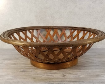 VTG Round Wood & Split Reed Lattice Centerpiece Bowl