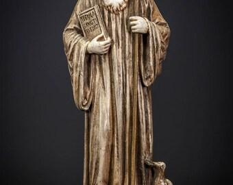 "St Benedict of Nursia Statue   Saint of Europe Figure   RARE Antique Polychromed Plaster Figurine   13"" Large"