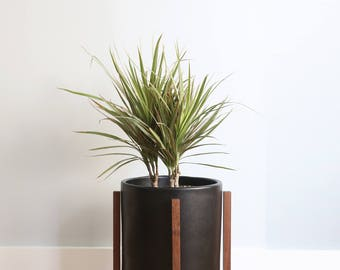 "Medium - Mid-century Modern Planter with Oak or Walnut Wood Planter Stand - 10"" ceramic pot"