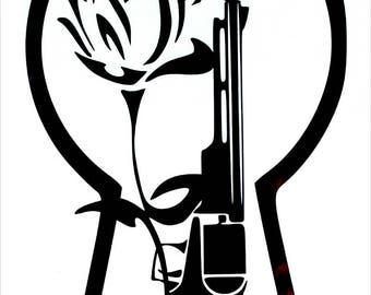 Stephen King / Dark Tower Keyhole with rose and gun vinyl sticker