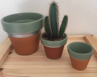 3 terracotta plant pots - various sizes, hand painted, ideal for succulents / cacti / house plants