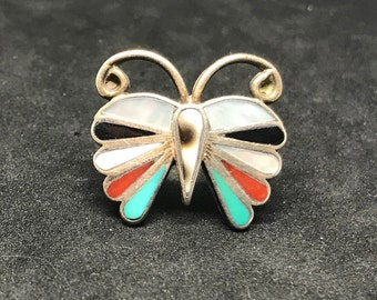 Vintage Old Pawn Sterling Silver Zuni Inlay Butterfly Ring MARKED