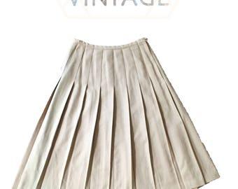 Vintage Retro 1970's Union Pleated Wool Blend Midi Skirt, waist 29, size 8