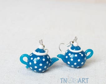 Cute Tiny Blue Teapots Earrings / handmade polymer clay jewelry / blue white color polkadot miniature teapot tea