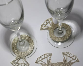 Engagement Ring Champagne or Wine Stem Markers [12pc]