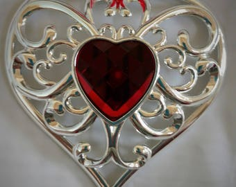 Lenox Silver & Red Heart Ornament, Silver Plated Filigree and Ruby Red Jewel, New; Christmas, Valentine, Anniversary or Birthday Gift.