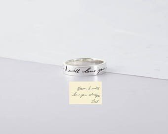 Actual Handwriting Ring - Custom Personalized Ring - Actual Signature Ring - Handwritten Ring - Engraved Ring Personalized Memorial Jewelry