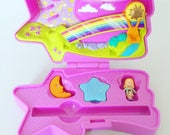 Extremely Rare  Polly Pocket  1995  Shooting Star Eraser Case  Rainbow Hot Air Balloon  Purple  Doll  Vintage