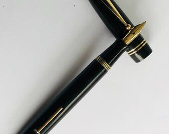 "1940's Swan Mabie Todd 3261 fountain pen , Made in England, 14k gold ""F"" nib, the last Black Hard Rubber fountain pen made by Mabie Todd"