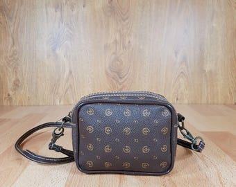 Vintage bag - Leather bag - Mini bag - Brown bag - Bag with long shoulder handle.