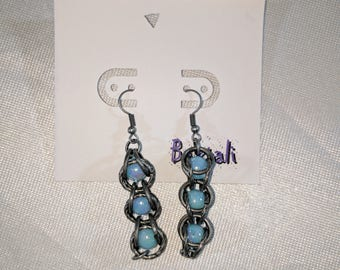 Chain Caged Pearl Drop Earrings