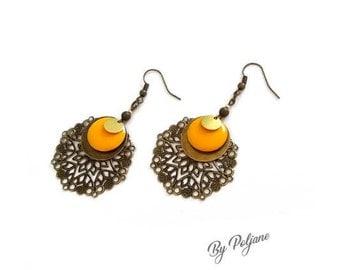 Bronze sunflower yellow earrings