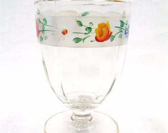 Clear glass compote pedestal base flowers hand painted