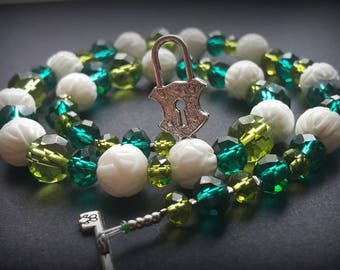 sea wave Chocker green necklace white chocker necklace spring necklace white agate necklace green cristall necklace sea wave necklace