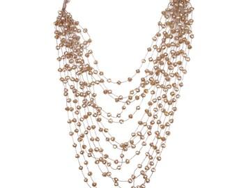 Long Beaded Beige Necklace
