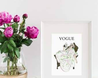 Vogue Watercolor Fashion Art Print - Lady With Fan - Letter 8 x 10