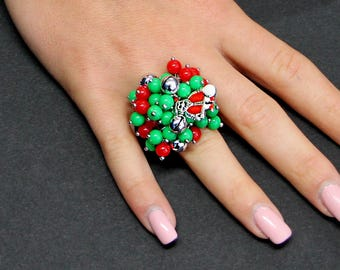 Ugly Christmas Ring Bauble Beaded Cluster Ring Adjustable and Loaded with Holiday Beads and Santa Claus Charm