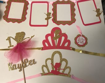 Ballerina 1/2 Birthday, 1st Birthday Party Kit Birthday Banner Centerpiece Ballerina Tiara