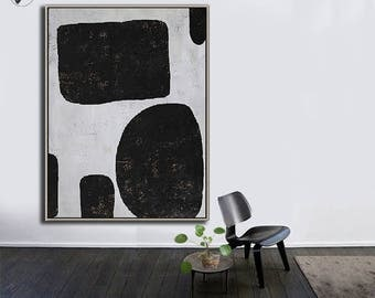Large Wall Art Canvas Art Abstract, Modern Art Canvas Painting Minimalist Black and White  - Ethan Hill Art No.H124V