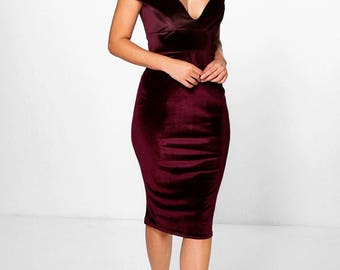 Bodice Plunge Off Shoulder Bodycon Dress - Velvet Feel Off Shoulder Bodycon Dress