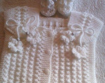 Baby sweaterBaby gift.Christmas gift for baby.Birthday gift.Baptism.Hand knit baby gift.Hand knit baby set.Baby accessories