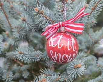 Handlettered Custom Christmas Carols Glitter Ornament. Deck the Halls, Merry and Bright, Joy to the World