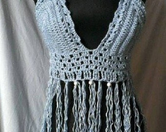 Hand knitted crochet halter top Corset festival Bikini top Beach bra top