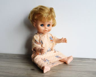 Reliable Doll Vintage 1960s Blonde Hair Blue Eyes Rubber Head Hard Plastic Body