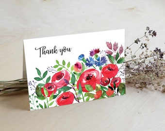 Summer Thank you Card, Floral Thank You card, Wedding Thank You Cards, Thank You Note, Instant Download, Printable PDF, Wedding, Shower