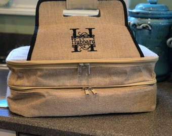 Classy Canvas Dual Insulated Casserole Carrier-Monogram or Personalized-Great Gift for Boss, Teacher, Hostess or carry your favorite dish!