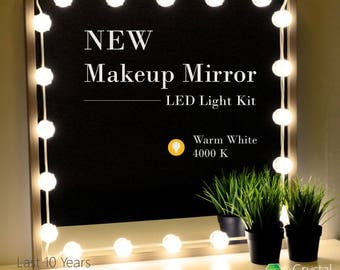 Crystal Vision Makeup Mirror LED Light Kit Provided by Samsung for Vanity Mirror w/ Dimmer Controller (25 LED Light / 10ft) [Warm White]