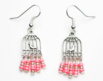 Bird cage earrings pink