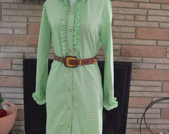 ON SALE! 1960s Green Gingham Shirtdress | 60s Gingham Dress | Vintage Gingham Shirtdress with Ruffles Medium Large