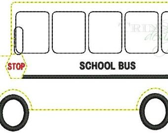 Vintage School Bus Quick Stitch Embroidery Design