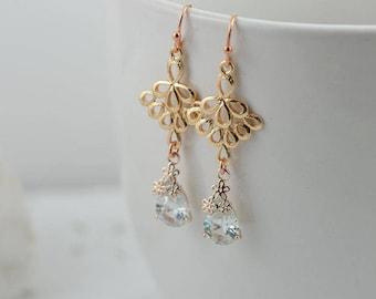 Light Gold Drop Earrings Gold Filigree Earrings Teardrop Earrings Light Weight Earrings Gold Earrings Cubic Zirconia Crystal Earrings