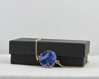 Blue Druzy Necklace, Raw Stone Necklace, Royal Blue Gemstone Jewelry Druzy Jewellery Gemstone Necklace, Blue Druzy Pendant Round Druzy Stone