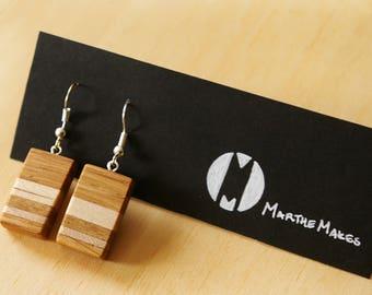 Layered Wooden Earring Rectangular Oak & Maple Pair