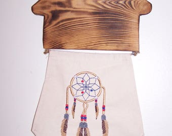 Wood and Embroidery Dreamcatcher Wall Decor