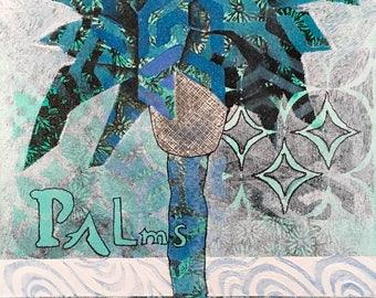 Blue Palm Paradise 9x12 original on board BBP1