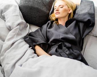 Linen Duvet Cover, stonewashed linen, softened linen bedding, duvet cover linen, light grey