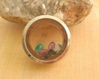Silver Round Glass Locket Filled with Birthstones