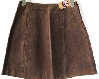 Vintage Suede Leather Skirt, Mini Skirt, Size 4 Size 5, Size Small