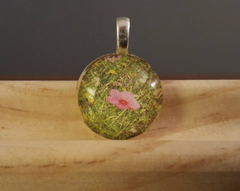 Pink Pansy in a Field of Green! -- Charm Necklace