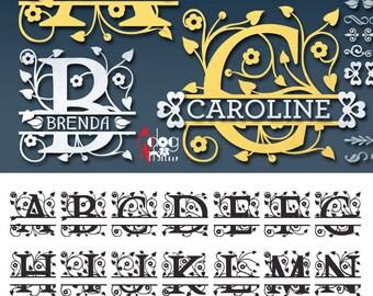 Split Foliage Alphabet SVG DXF Vector Cut Files Monogram Font Cuttable Letters Vinyl Iron On Heat Press Transfer Silhouette Cricut JB-161a