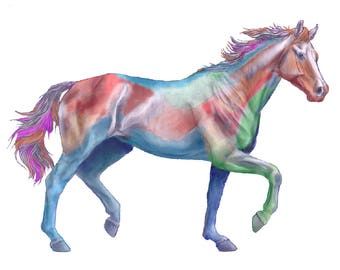 Rainbow Horse - Giclee print of an original watercolor pen and ink painting / drawing