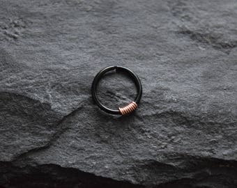 Rose Gold Wire Wrapped Black Titanium Anodized over 316L Surgical Steel Annealed and Rounded Ends Cut Rings (Many Sizes Available)