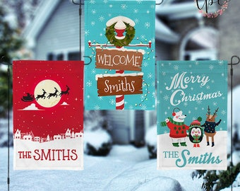Personalized Christmas Garden House Flag - Santa's Sleigh Christmas North Pole Holiday Characters Garden House Flag