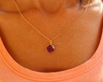 Ruby Necklace, Dainty Necklace, Minimalist Necklace, Layered Necklace, Tiny Necklace, 24kt Gold Necklace, Gift For Her, Stone Necklace