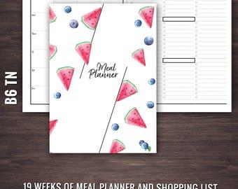 B6 TN Meal Planner, Traveler's Notebook Insert, B6 Inserts, B6 Meal Planner, Travleler's Notebook Meal Planner, TN Inserts, B6 TN Inserts