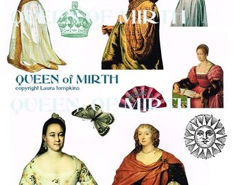 QUEEN OF MIRTH renaissance women collage elements sheet instant download mixed media collage art journal decoupage romantic scrapbooking
